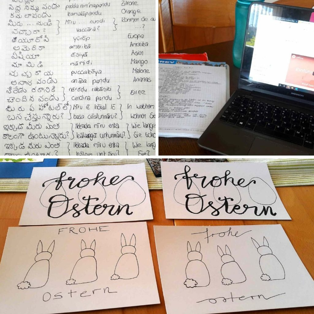 Neue Dinge zu Hause lernen - zum Beispiel Telugu (Vokabeln), VA-Onlinekurs (Laptop) und Handlettering (Osterkarten) als Collage