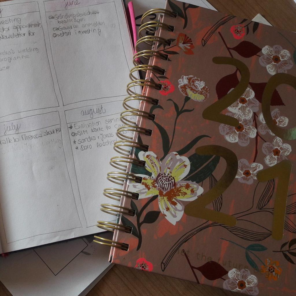 Meine Lieblinge für gute Planung: Mein BuJo mit den Monatstasks und mein Kalender