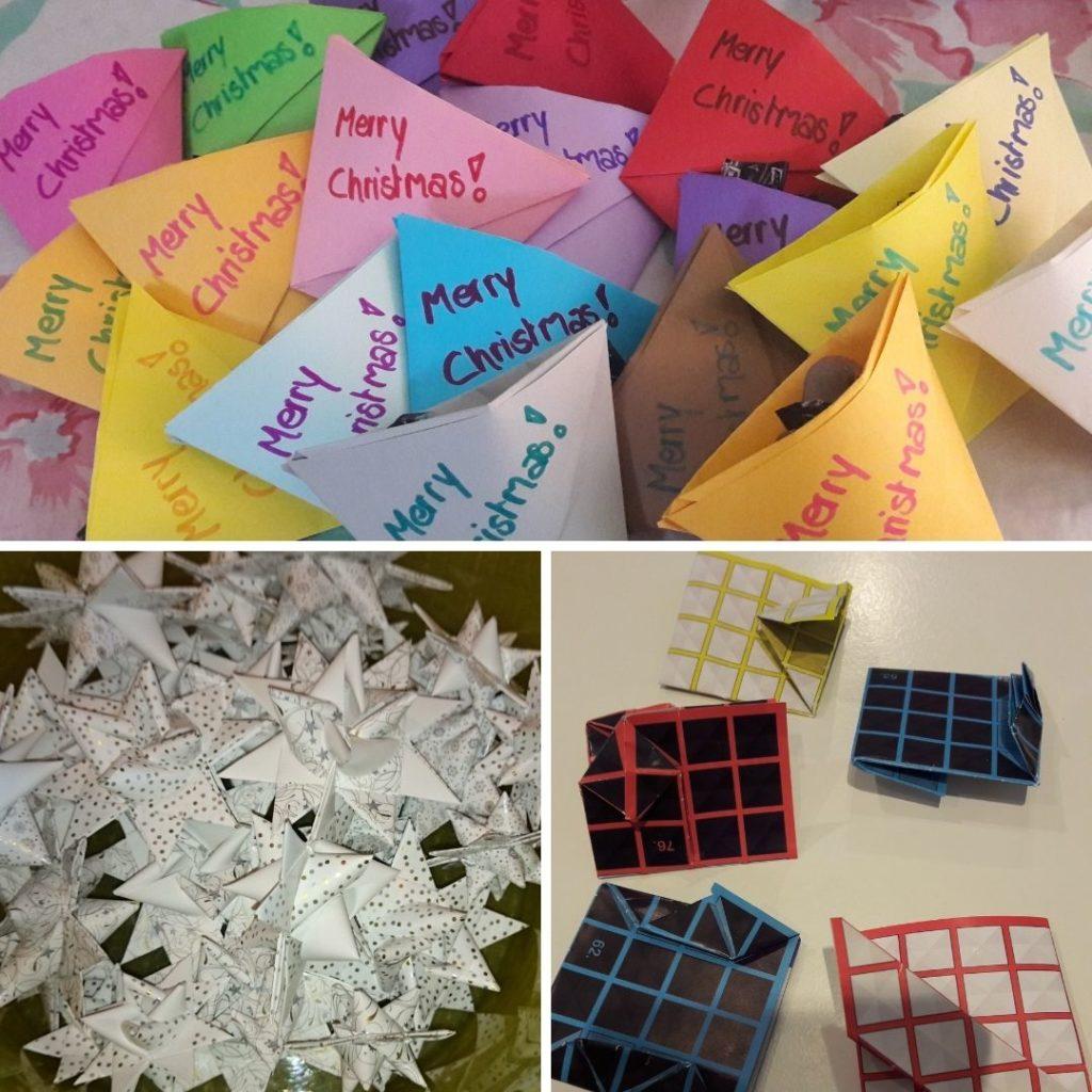 Was tun bei Langeweile - Oben: Geschenktütchen aus buntem Origami-Papier, l.u.: Fröbelsterne, r.u. gefaltete Quadrate