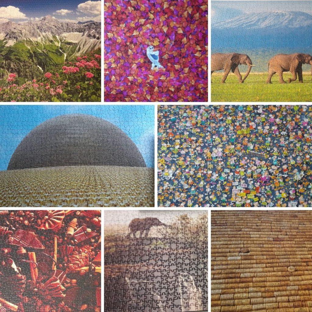 Was tun bei Langeweile - verschiedene Puzzles l.o. n. r. u.: Bergpanomrama, Frozen Olaf in Blättern, Elefanten, Buddha-Tempel, Menschengedränge, Schokolade, Elefant am Wasserfall, Korken