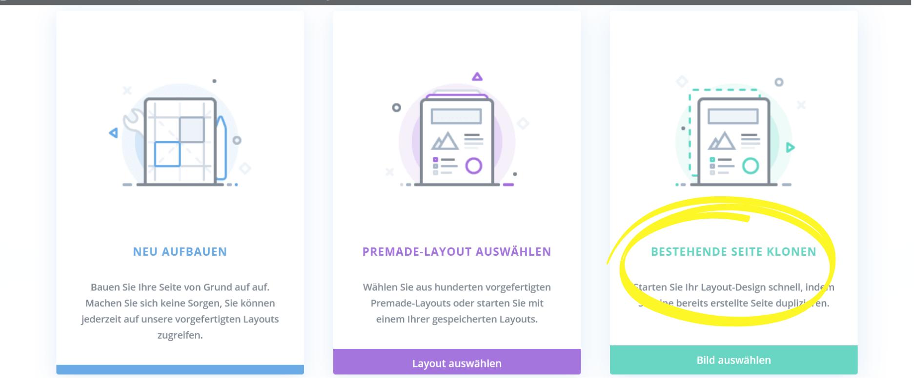 Divi Seiten klonen Screenshot