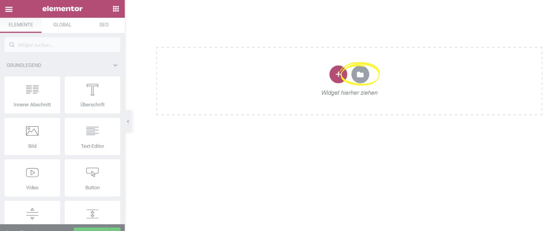 Elementor Inhalt aus Bibliothek einfügen Screenshot