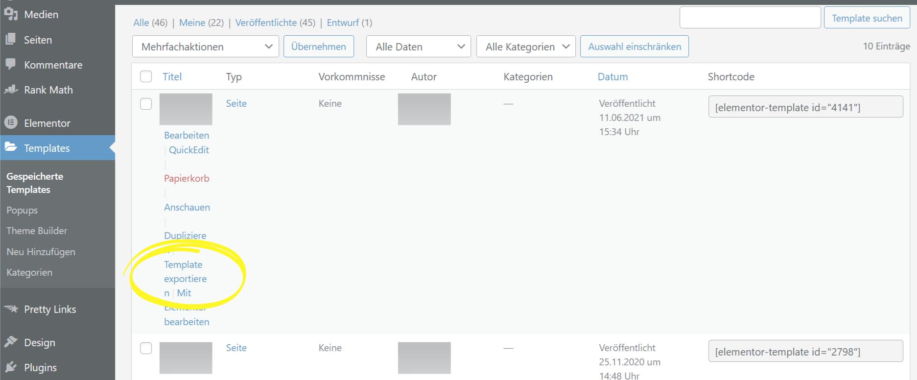 Elementor Template exportieren Screenshot