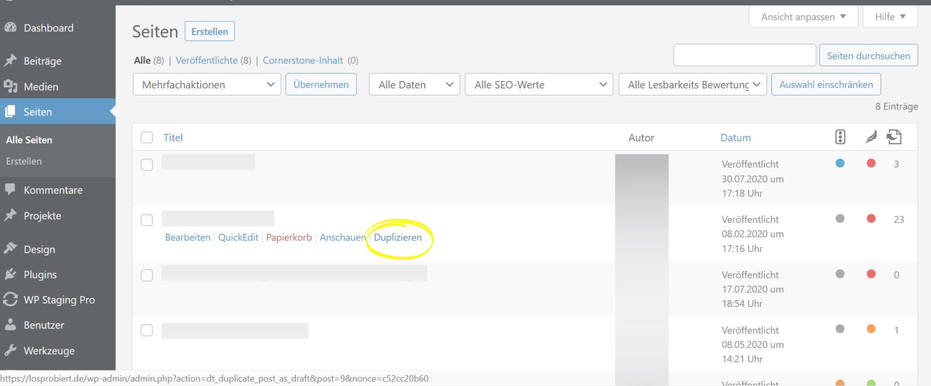 Wordpress Seiten duplizieren mit Plugin Screenshot