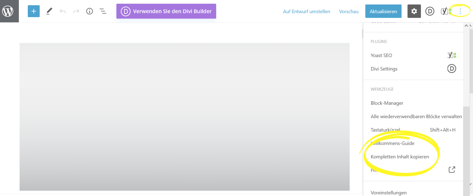 Wordpress Beitrag kompletten Inhalt kopieren Screenshot