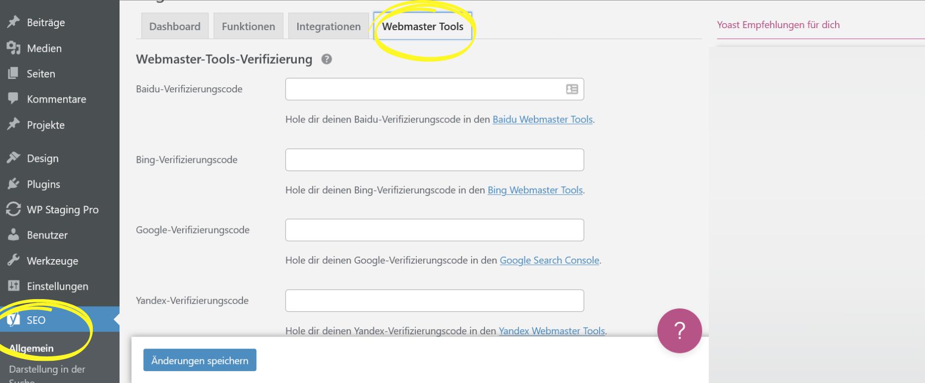 Webmaster IDs in Yoast SEO hinterlegen
